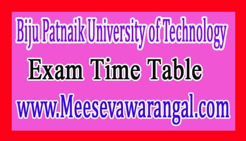 Biju Patnaik University of Technology M.Sc Rescheduling 2016 Exam Time Table