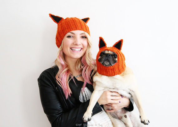 These simple fox hats allow you to dress up with your dog without going overboard!