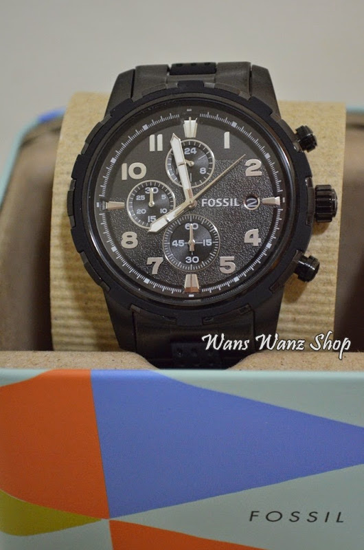 Ready stock: Fossil Men's Dean FS4904 Black Stainless-Steel Quartz Watch with Black Dial