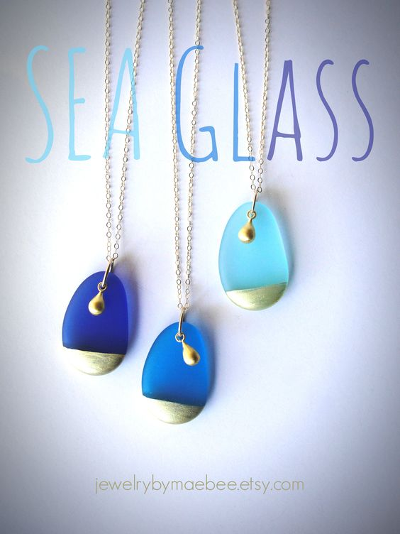 Gold-dipped Blue Seaglass