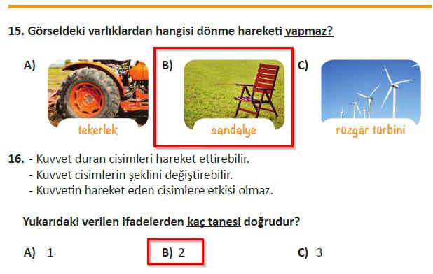 3.Sınıf MEB Yayınları Fen Bilimleri Ders Kitabı 96.Sayfa Cevapları (3.Ünite Değerlendirme Testi)