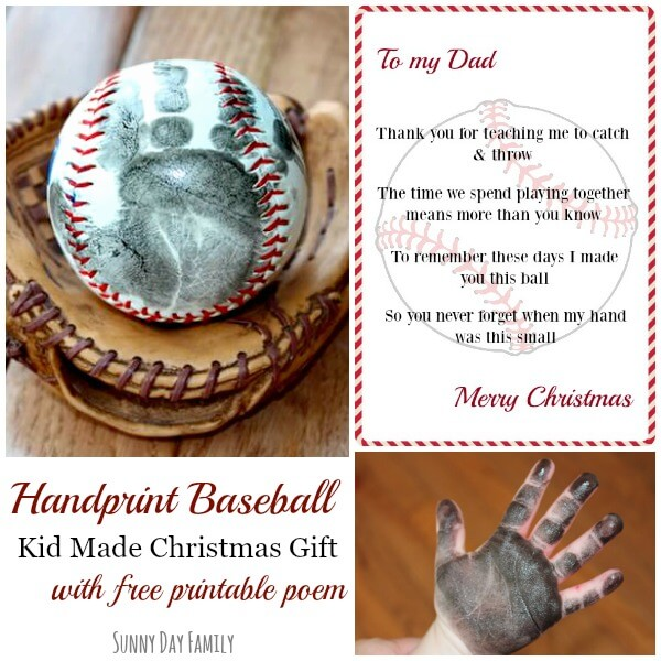 Handprint Baseball: Kid Made Christmas Gift with Free ...