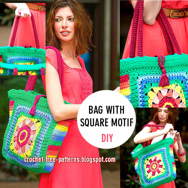 how to crochet bag with square motif