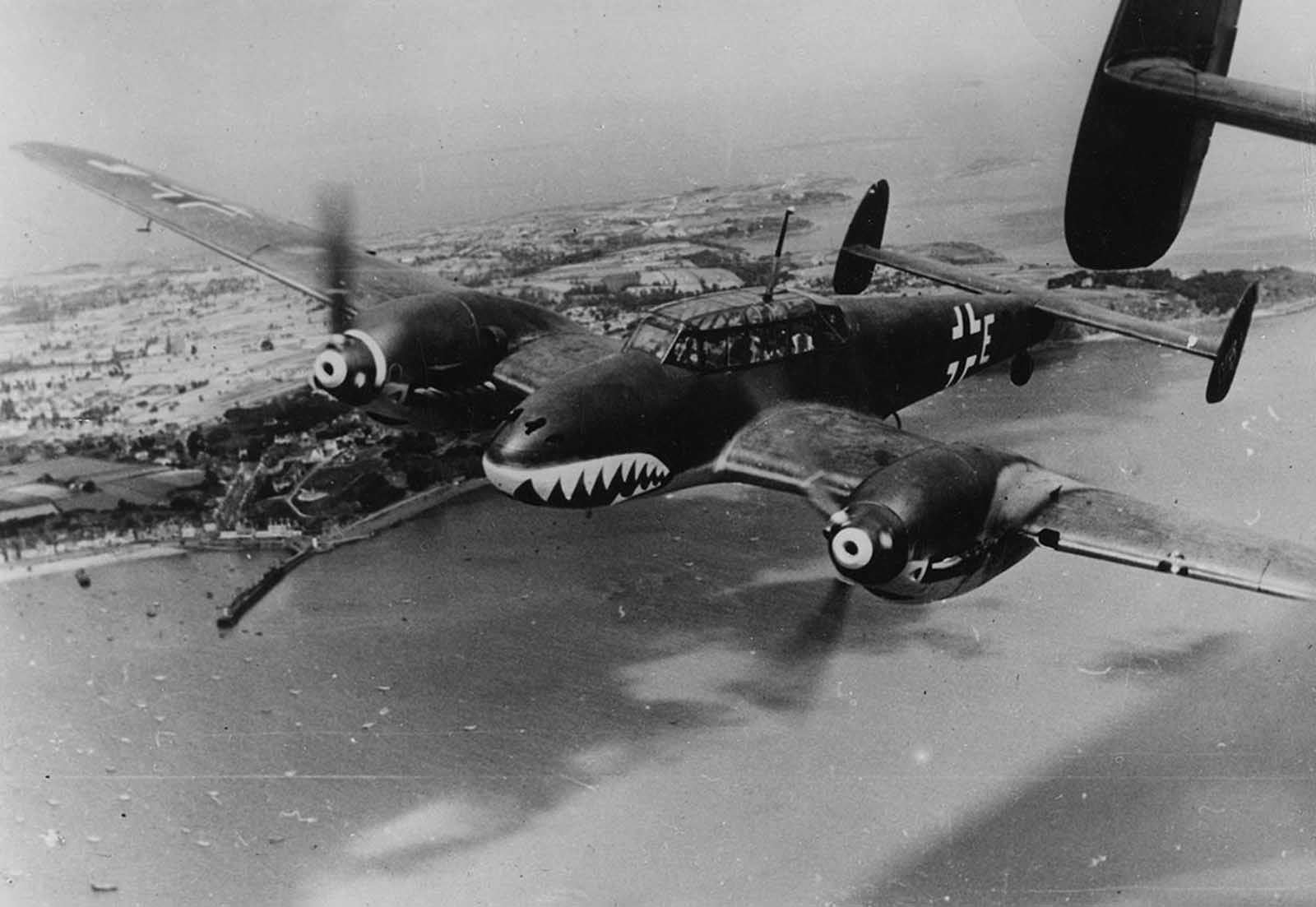 A German twin propelled Messerschmitt BF 110 bomber, nicknamed