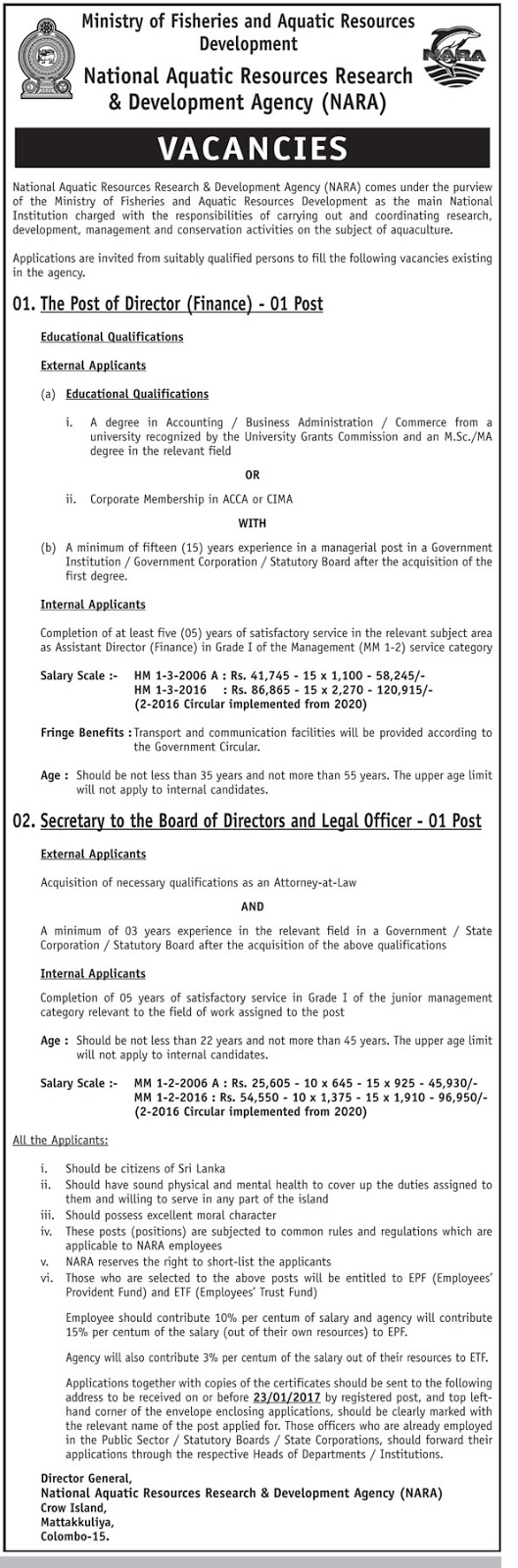 director finance secretary to the board directors legal sri lankan government job vacancies at national aquatic resources research development agency nara