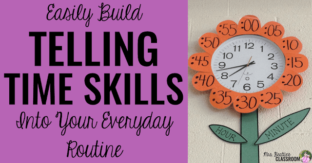 Teaching time skills in your classroom? Telling time comes easier to students when it is practiced in authentic situations. Help your students learn telling time skills by building this into your everyday classroom routine. Check out the anchor display ideas in this post!