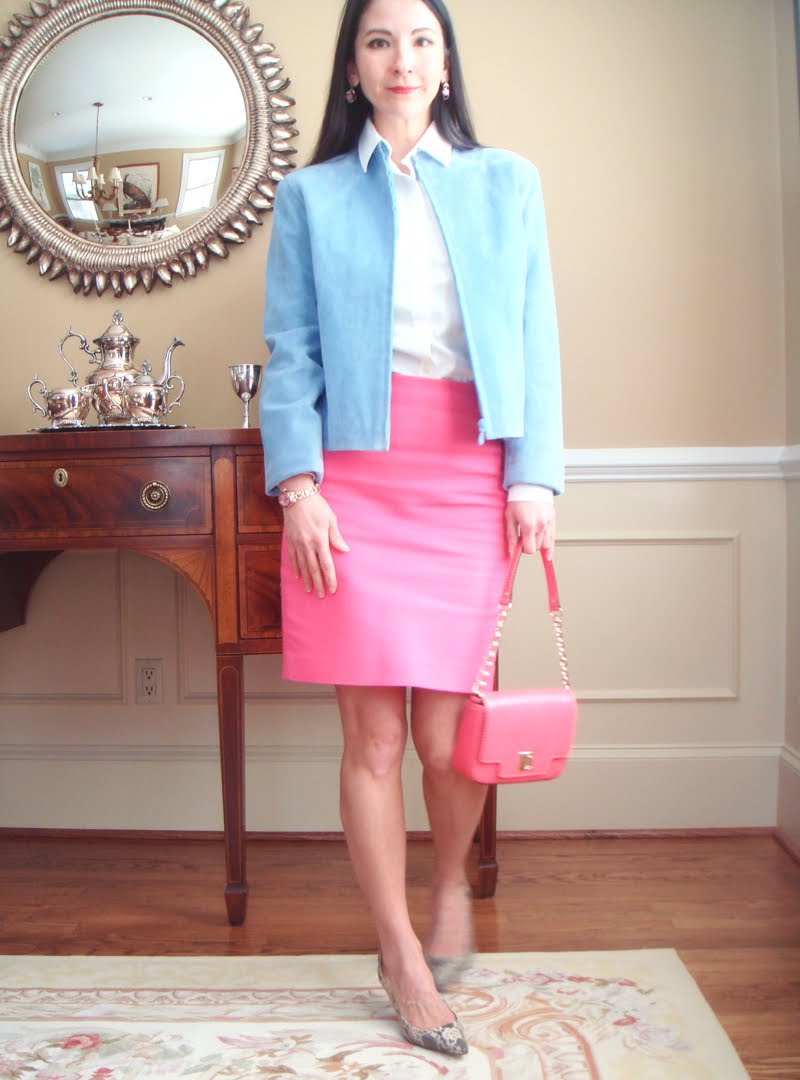 Bright Pink Work Outfit - facing forward