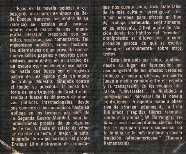Comentario de Tamara Kamenszain a la edición de La Orquesta de Cristal (Texto de contratapa Sudamericana-Argentina 1976)