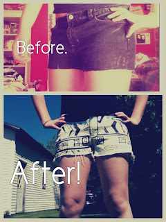 mckenna k. xx: {DIY: Bleached Tribal Shorts}