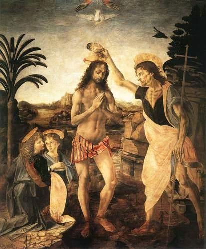 O Batismo de Cristo - Leonardo Da Vinci | O maior artista de todos os tempos