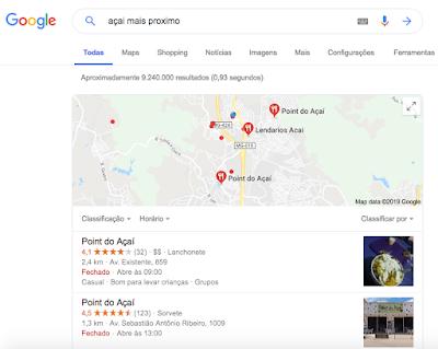 Busca local para pizzaria. Google Meu Negócio