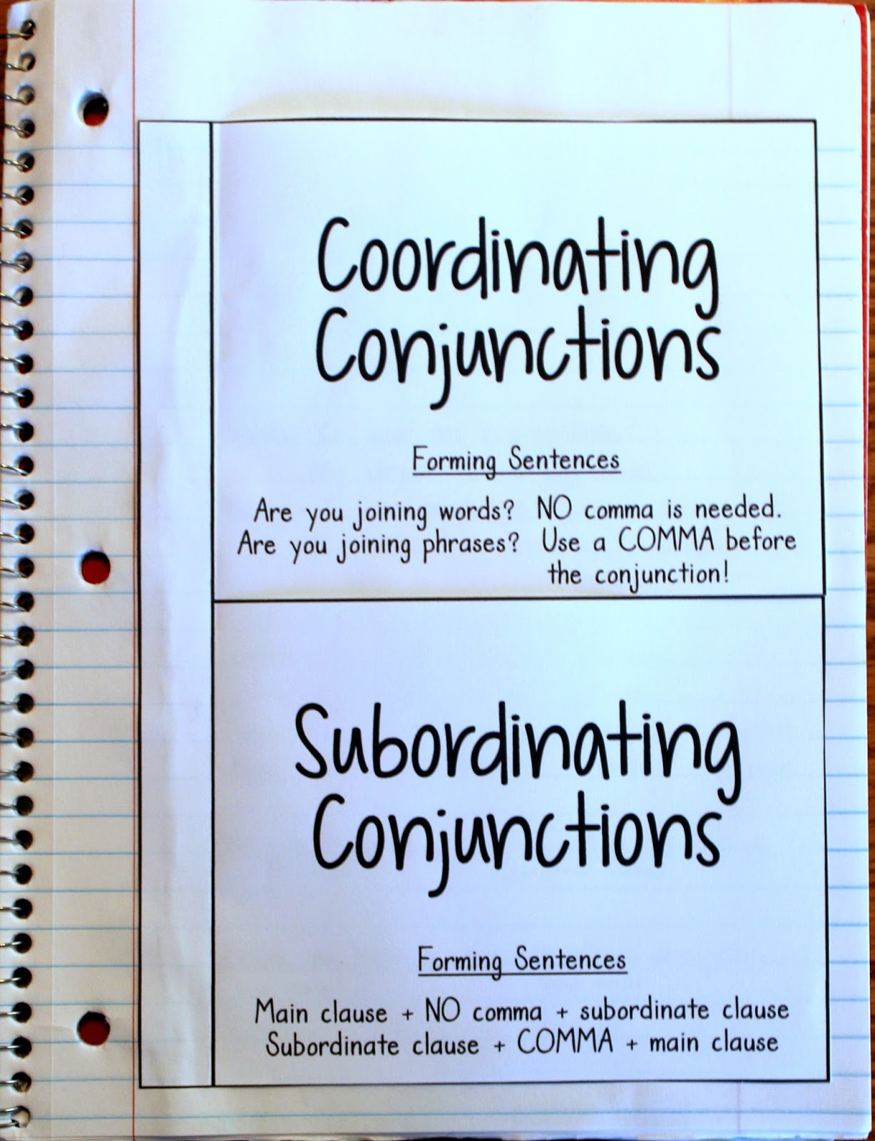 Crafting Connections Conjunction Anchor Chart