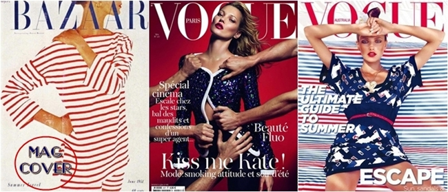 blue and red fashion magazine covers