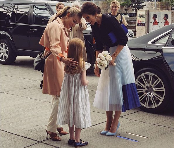 Crown Princess Mary wore Gianvito Rossi Ric Blue Suede Pumps. Crown Princess Mary-wore Charlotte Eskildsen Designers Remix Pleated Midi Skirt