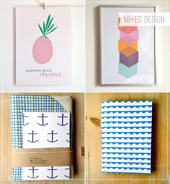 Hand printed and designed paper goods and art prints by MI+ED Design.