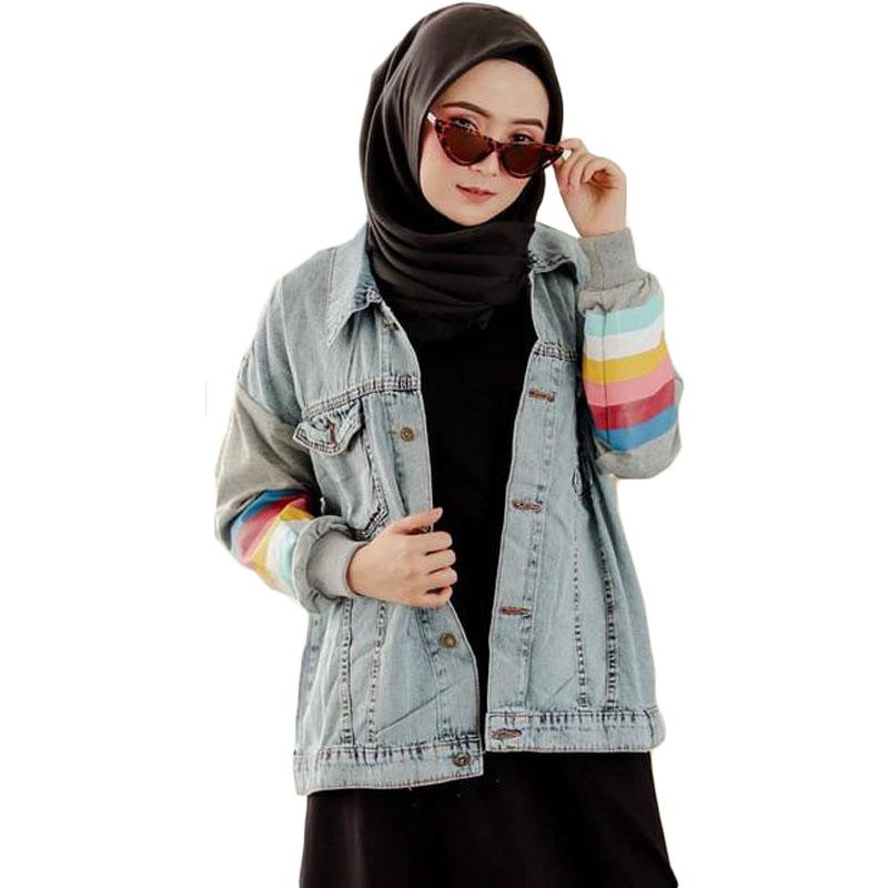 Jaket Jeans Wanita Kekinian Motif Pelangi - Abu