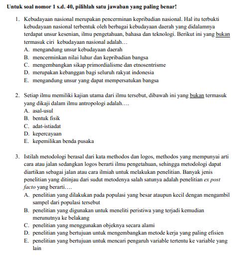 Soal Latihan USBN Antropologi SMA Tahun  SOAL LATIHAN USBN ANTROPOLOGI SMA TAHUN 2019/2019