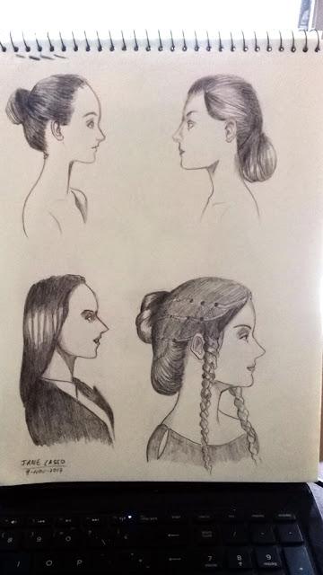 Rostros de perfil dibujados
