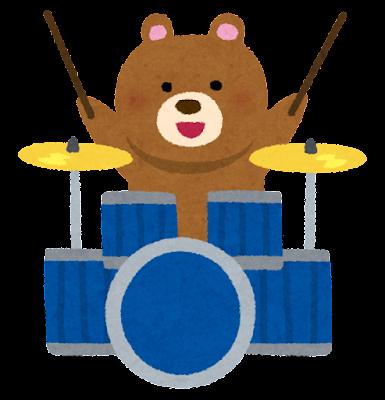 クマのドラマーのイラスト