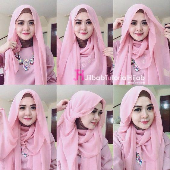 Kumpulan Gambar Tutorial Cara Memakai Hijab Model Glamour