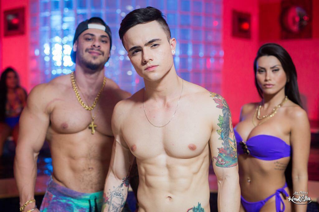 O cantor Léo Stronda e a namorada Greicy Santos participam da gravação do primeiro videoclipe do MC Duduka. Foto: Léo Caldas/KondZilla