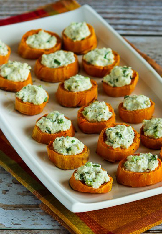 Sweet Potato Appetizer Bites with Feta and Green Onion found on KalynsKitchen.com