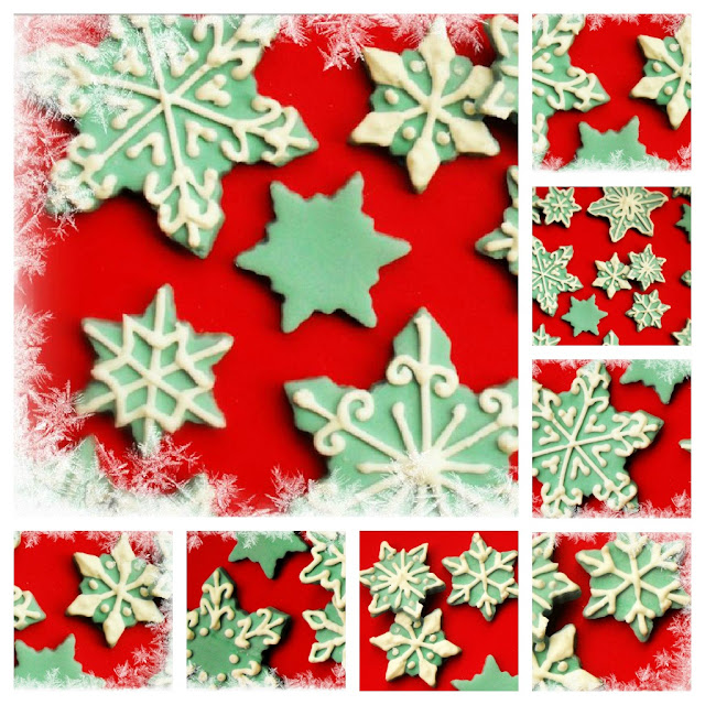 Blue and white decorated sugar snowflakes