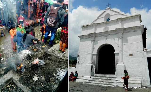 Queima de incenso e oferenda de flores, ritual indígena no Mercado de Chichicastenango, Guatemala