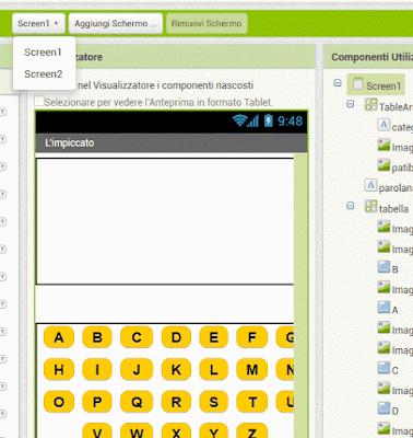 cambiare l'ordine degli schermi / screen in MIT App Inventor 2