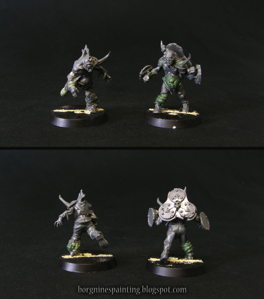 2 unpainted, kitbashed miniatures of rotters for Blood Bowl Nurgle team, visible from multiple angles. Through the use of bits and greenstuff, they were converted to show their own upgrade skills, Kick and Guard respectively.