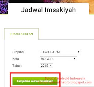 Download jadwal imsakiyah pilih kota