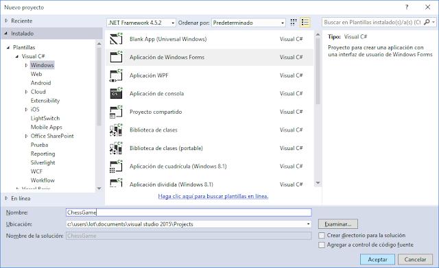 Nuevo proyecto Windows Forms