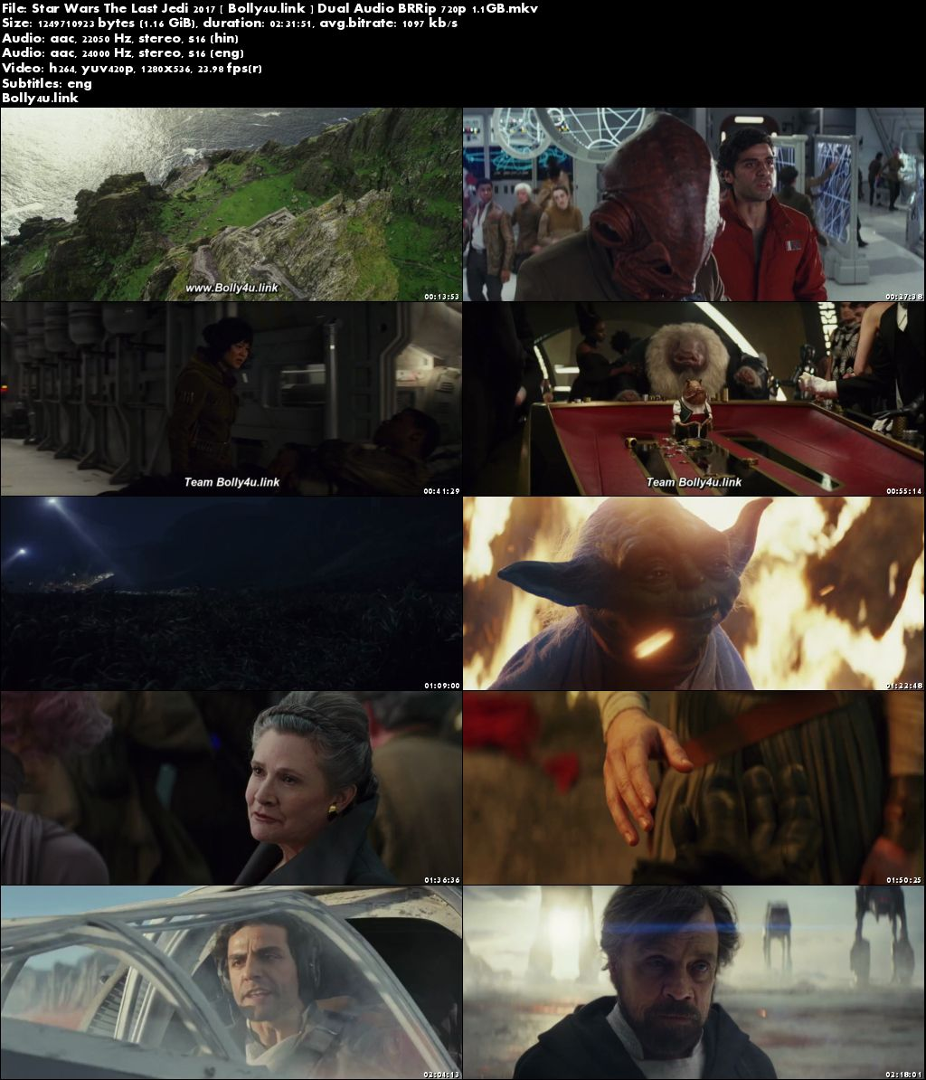 Star Wars The Last Jedi 2017 BRRip 450MB Hindi Dubbed Dual Audio 480p ESub Download