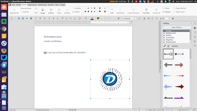 LibreOffice com interface Ribbon Notebookbar