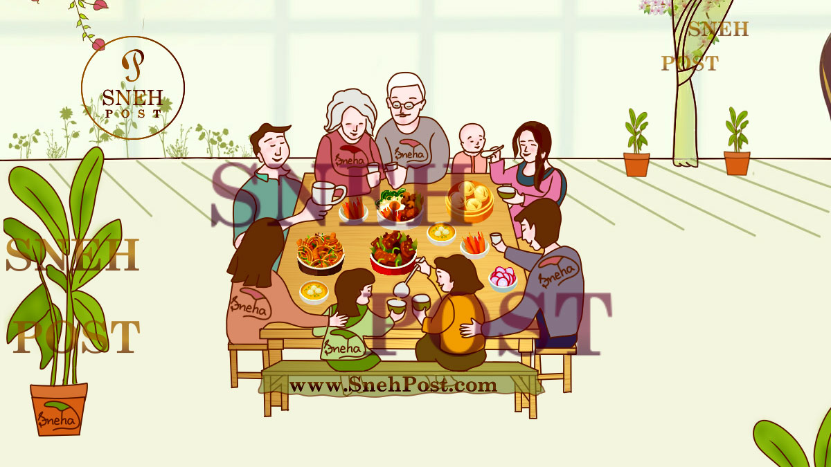 Healthy Eating Environment: Calm and settled environment of home for eating together on one table (Illustration of all family members of a happy family taking food together on dinning table in good atmosphere of dinning room with indoor plants around)