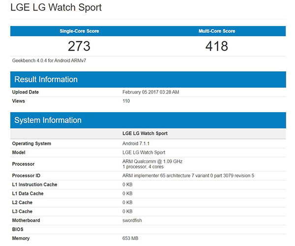 lg watch sport spotted on geekbench android wear 2 0. Black Bedroom Furniture Sets. Home Design Ideas