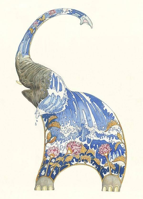 03-Elephant-Squirting-Water-Daniel-Mackie-Flora-and-Fauna-Watercolour-illustrations-www-designstack-co