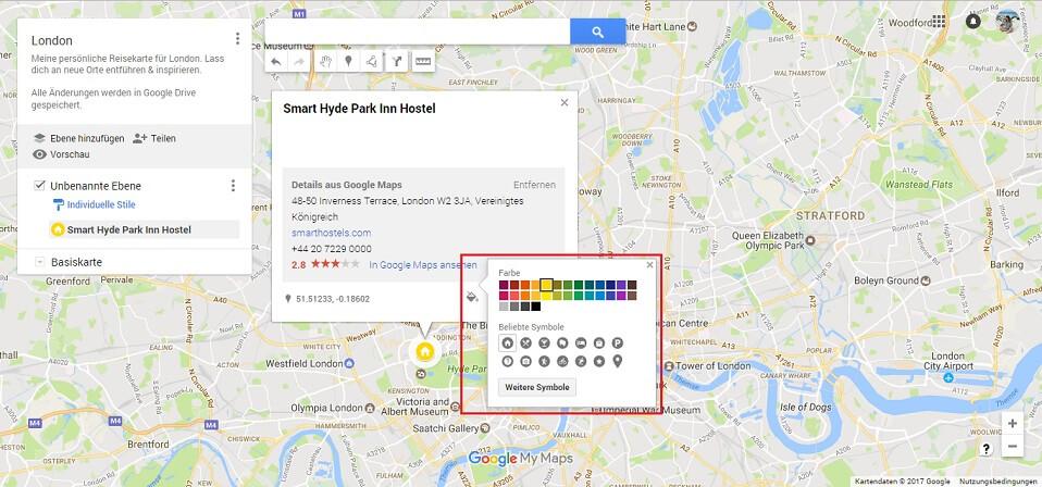 Google Maps Karte Orte Symbole und Farbe Screenshot