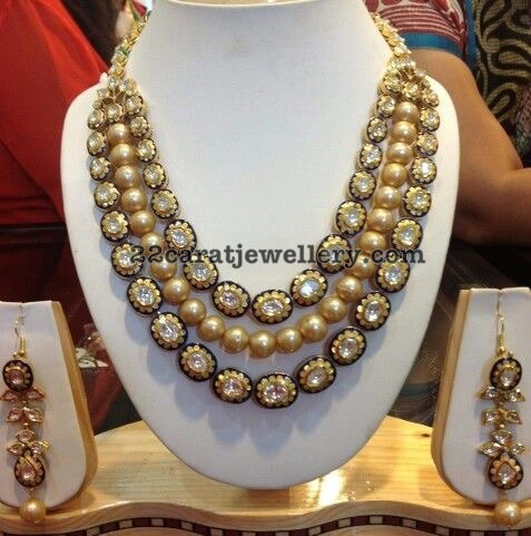 Kundan Work South Pearls Set