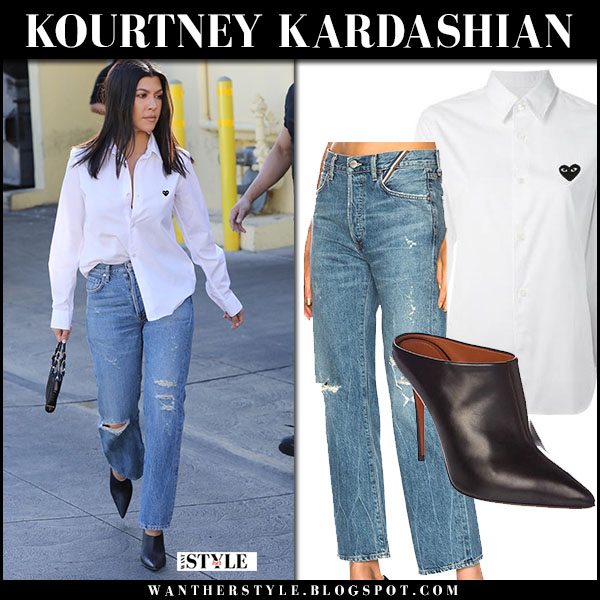 Kourtney Kardashian in white shirt comme de garcons and ripped jeans jean atelier street fashion february 15