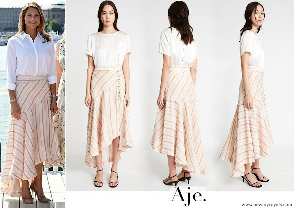 Princess Madeleine wor Aje Cora Silk Linen Striped Skirt