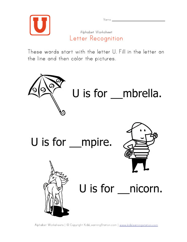 words that start with the letter u phonics teachernick letter of alphabet phonics 25739 | Worksheet Letter U