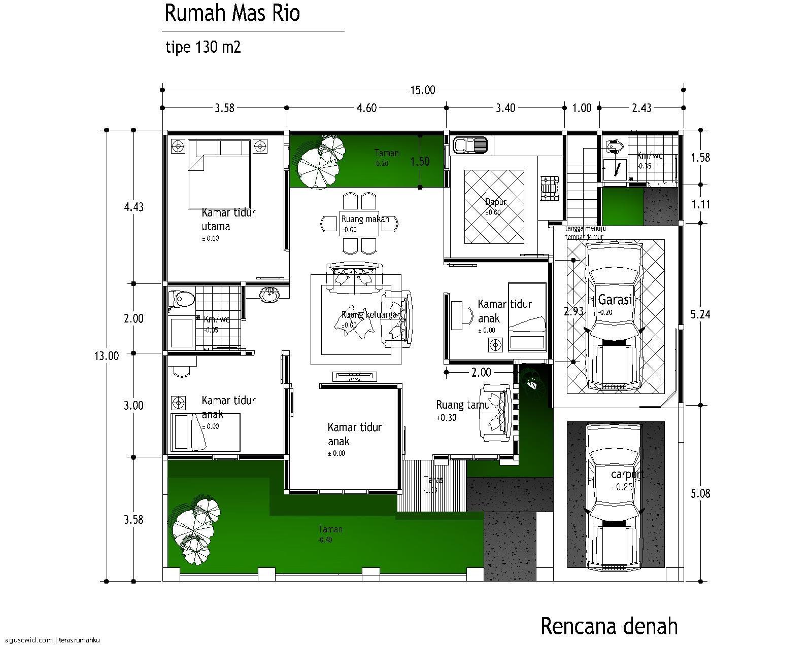 gambar denah rumah kecil sederhana 3