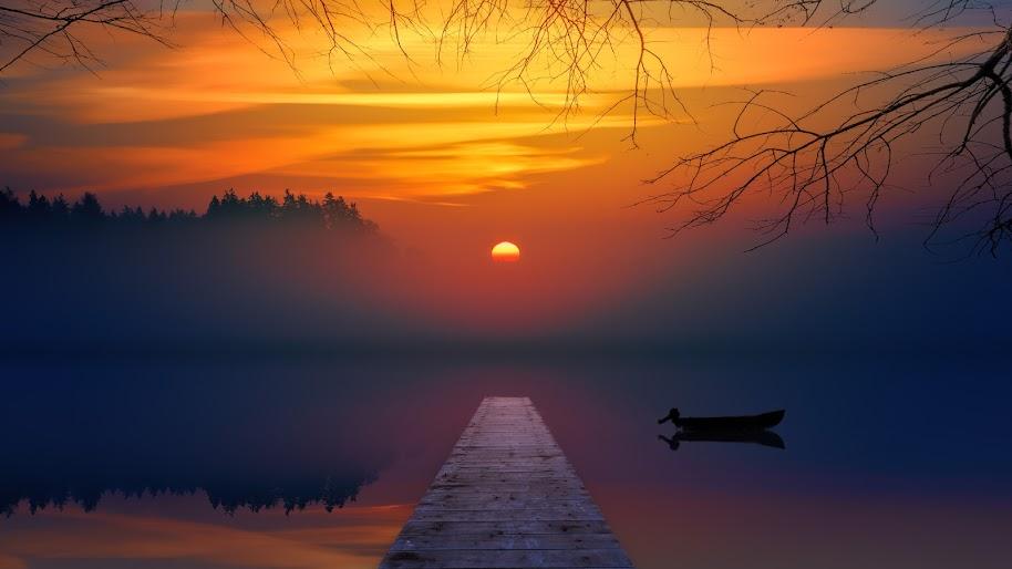 Sunset Lake Nature Scenery 4k 3840x2160 Wallpaper 10