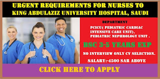 Urgent requirements for Nurses to King Abdulaziz University Hospital Saudi