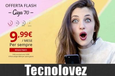 Offerta Flash di Iliad -  Sms e Minuti Illimitati e 70 Giga di traffico dati a soli 9.90