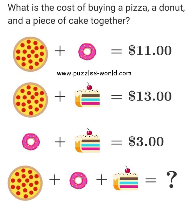 Cost of Pizza Donut and Cake puzzle