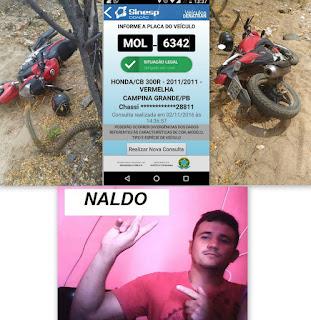 Moto usada em tentativa de assalto em Frei Martinho foi encontrada nessa quarta (02)