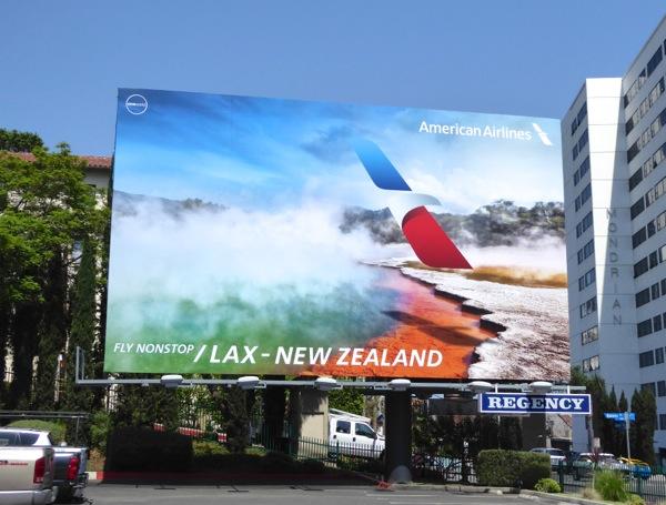 American Airlines nonstop LAX New Zealand billboard