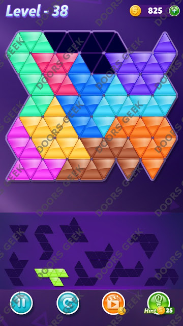 Block! Triangle Puzzle 10 Mania Level 38 Solution, Cheats, Walkthrough for Android, iPhone, iPad and iPod